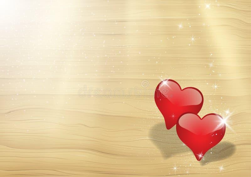 Κάρτα βαλεντίνων με δύο ακτίνες καρδιών στον ήλιο απεικόνιση αποθεμάτων
