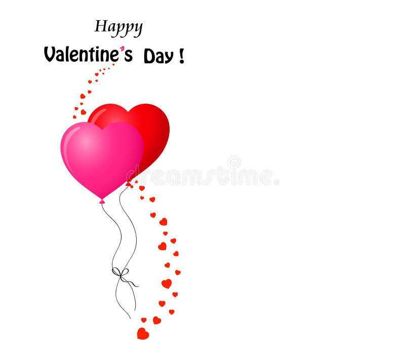Κάρτα βαλεντίνων ` s με το ζεύγος των κόκκινων και ρόδινων μπαλονιών καρδιών απεικόνιση αποθεμάτων