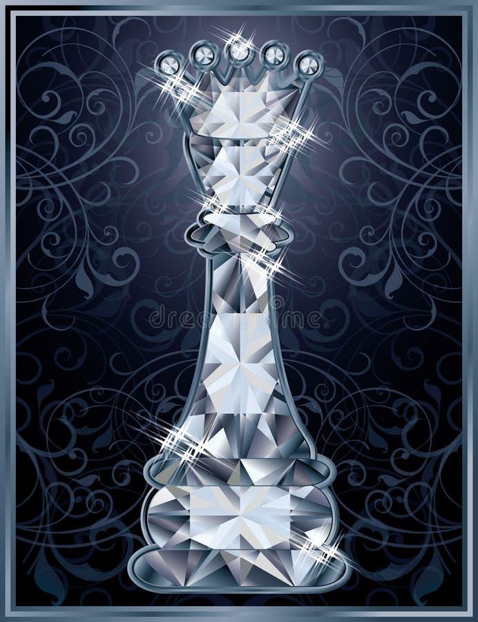 Κάρτα βασίλισσας σκακιού διαμαντιών ελεύθερη απεικόνιση δικαιώματος
