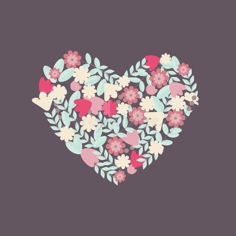 Κάρτα βαλεντίνων με τα λουλούδια στη μορφή καρδιών απεικόνιση αποθεμάτων