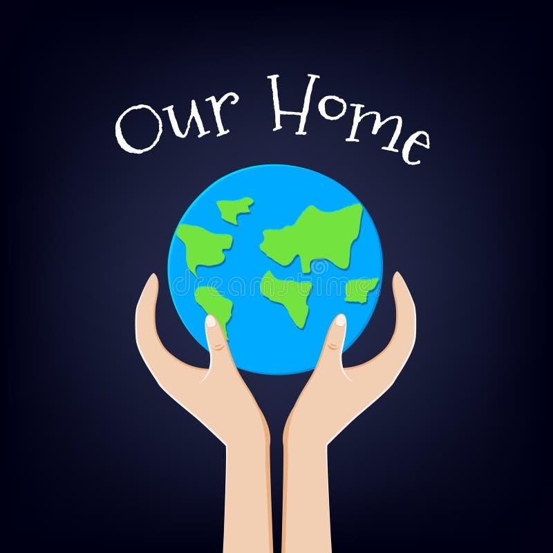 Κάρτα γήινης ημέρας με τον πλανήτη και τα χέρια σπίτι μας επίσης corel σύρετε το διάνυσμα απεικόνισης διανυσματική απεικόνιση