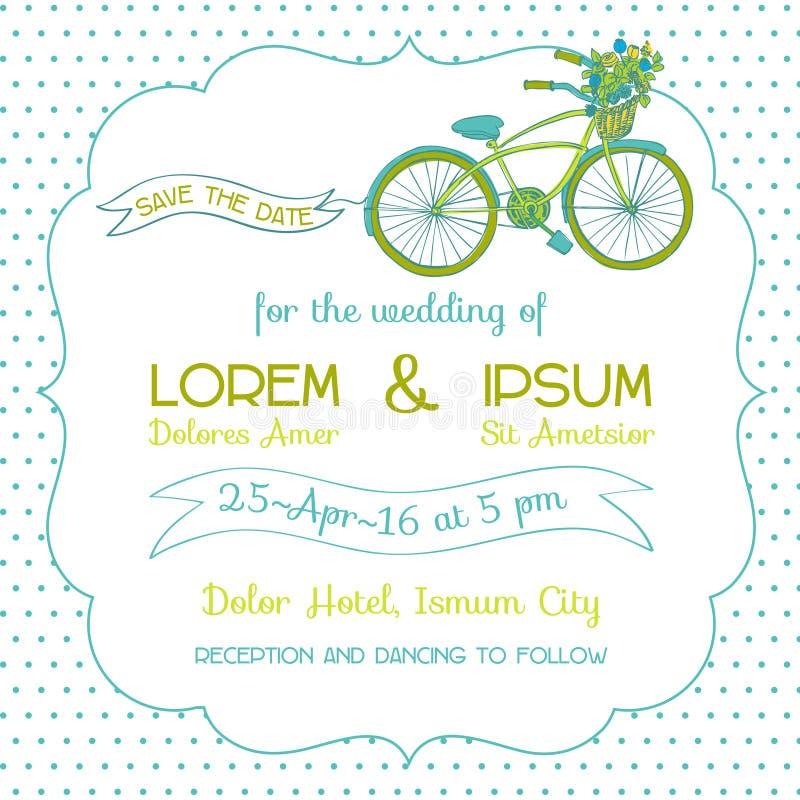 Κάρτα γαμήλιας πρόσκλησης - θέμα ποδηλάτων απεικόνιση αποθεμάτων