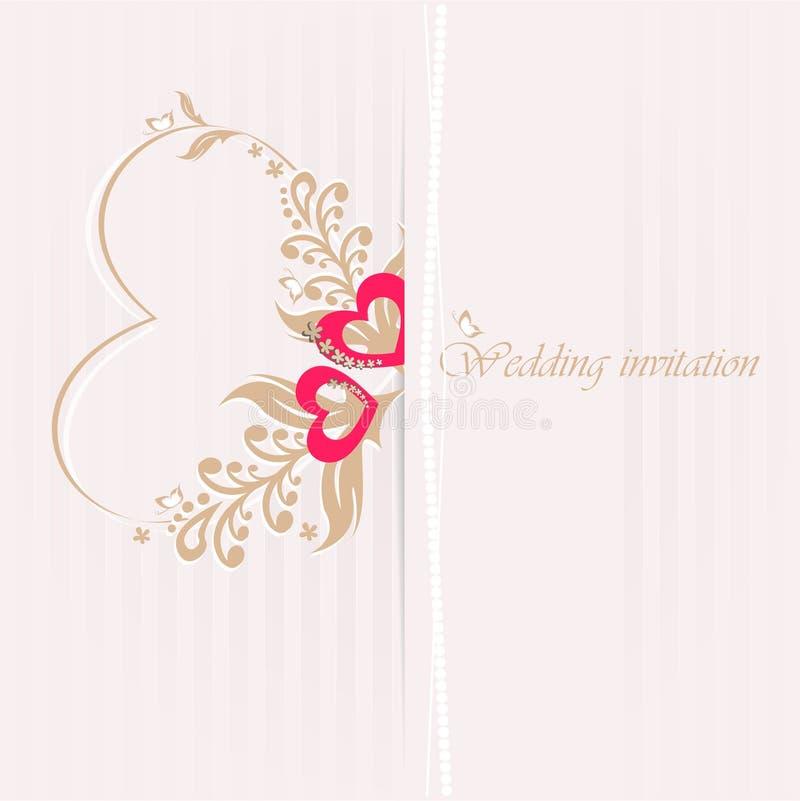 Κάρτα γαμήλιας πρόσκλησης με τις διακοσμητικές καρδιές. απεικόνιση αποθεμάτων