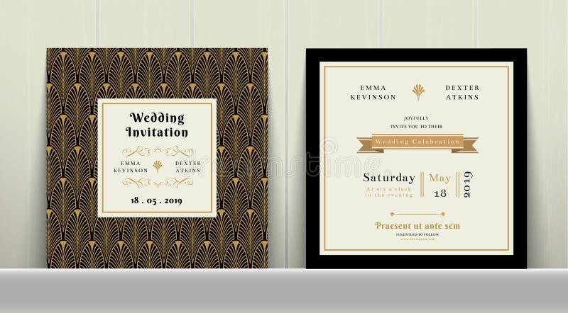 Κάρτα γαμήλιας πρόσκλησης του Art Deco στο χρυσό και μαύρο χρώμα απεικόνιση αποθεμάτων