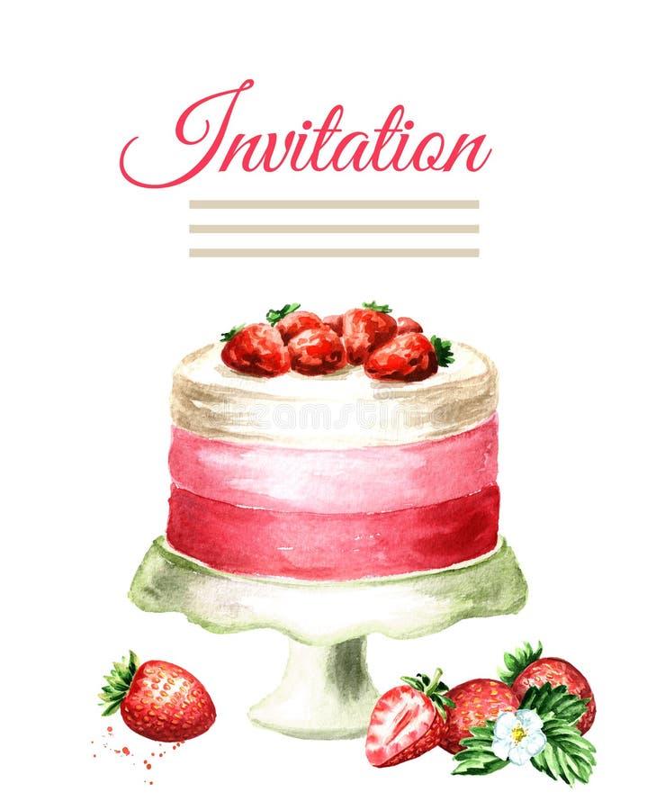 Κάρτα γενεθλίων ή γάμου πρόσκλησης εξυπηρετούμενο λευκό φραουλών κέικ ανασκόπησης πιάτο Συρμένη χέρι απεικόνιση Watercolor, που α στοκ εικόνα