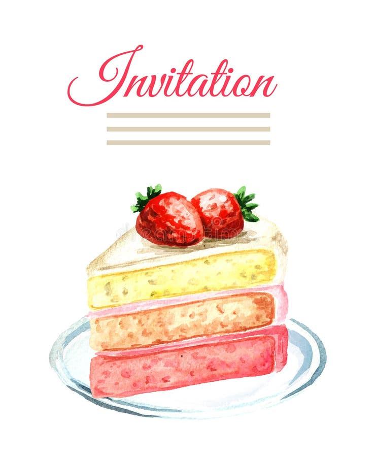 Κάρτα γενεθλίων ή γάμου πρόσκλησης εξυπηρετούμενο λευκό φραουλών κέικ ανασκόπησης πιάτο Συρμένη χέρι απεικόνιση Watercolor που απ στοκ εικόνα με δικαίωμα ελεύθερης χρήσης