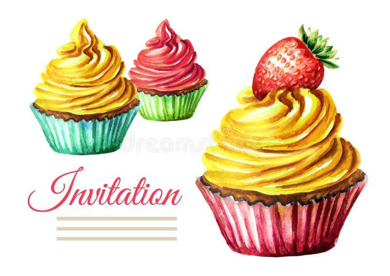 Κάρτα γενεθλίων ή γάμου πρόσκλησης Κέικ Συρμένη χέρι απεικόνιση Watercolor που απομονώνεται στο άσπρο υπόβαθρο στοκ φωτογραφία