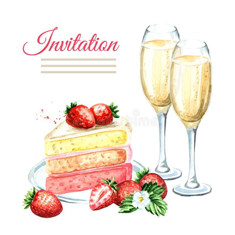 Κάρτα γενεθλίων ή γάμου πρόσκλησης Κέικ φραουλών με τα γυαλιά σαμπάνιας Συρμένη χέρι απεικόνιση Watercolor, που απομονώνεται διανυσματική απεικόνιση