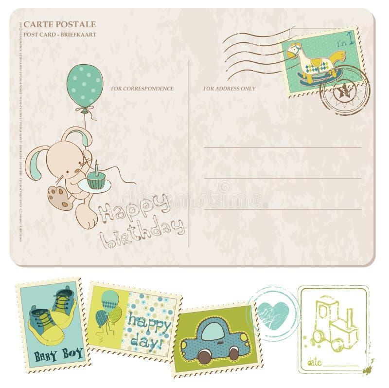 Κάρτα γενεθλίων αγορακιών με το σύνολο γραμματοσήμων διανυσματική απεικόνιση