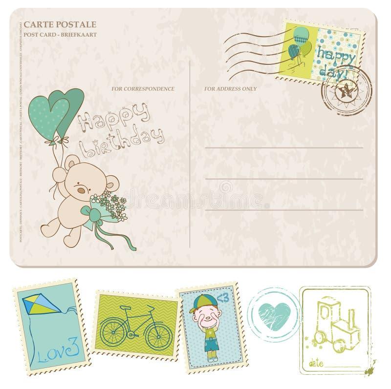 Κάρτα γενεθλίων αγορακιών με το σύνολο γραμματοσήμων ελεύθερη απεικόνιση δικαιώματος