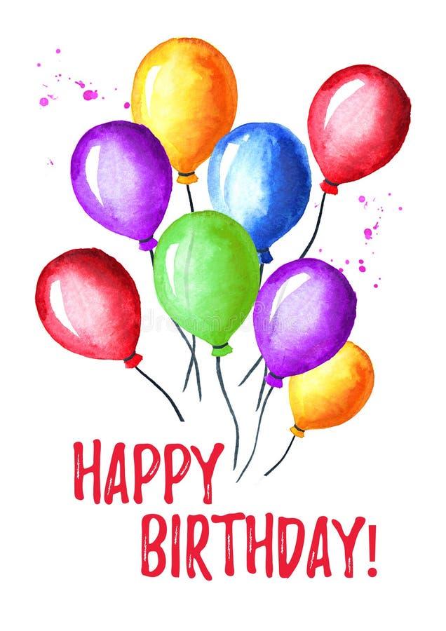 κάρτα γενεθλίων ευτυχής μπαλόνια ζωηρόχρωμα Συρμένη χέρι απεικόνιση Watercolor, που απομονώνεται στο άσπρο υπόβαθρο στοκ φωτογραφία με δικαίωμα ελεύθερης χρήσης