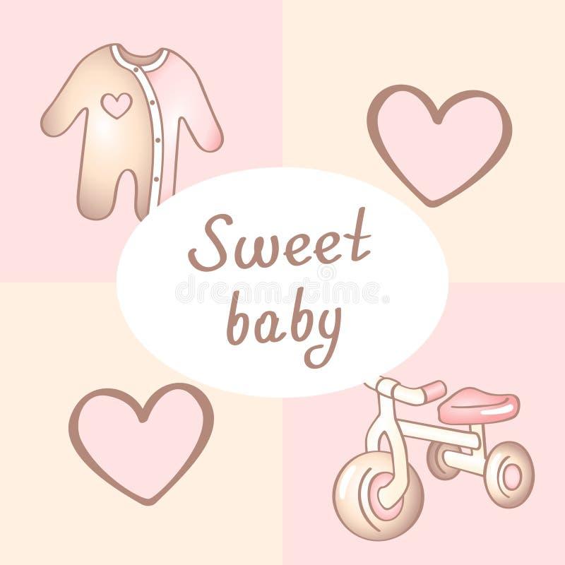 Κάρτα γενεθλίων κοριτσάκι, κάρτα ντους, κάρτα πρόσκλησης, ευχετήρια κάρτα, αφίσα γλυκό κοριτσακιών διανυσματική απεικόνιση
