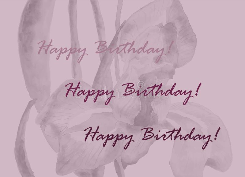 Κάρτα γενεθλίων με την κρητιδογραφία ένα λουλούδι τόνου r διανυσματική απεικόνιση