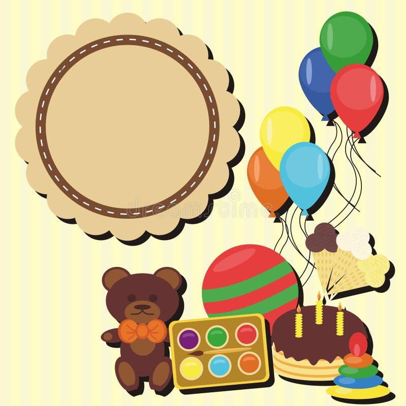Κάρτα γενεθλίων με τα παιχνίδια διανυσματική απεικόνιση