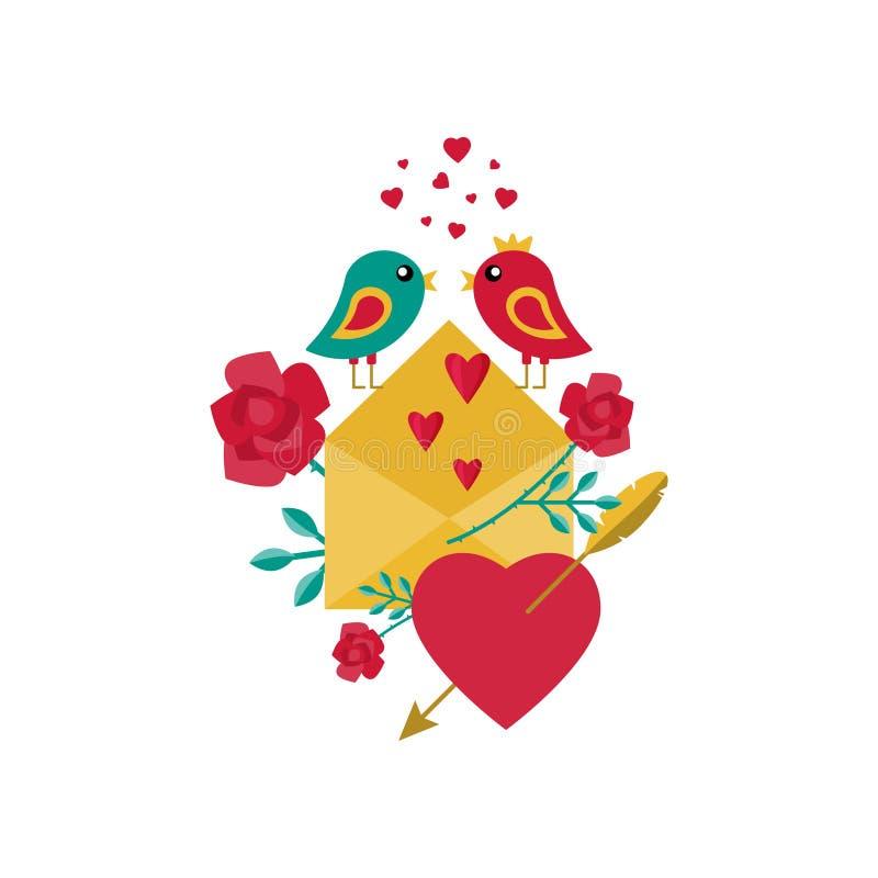 Κάρτα για την ημέρα βαλεντίνων ` s Πουλιά, λουλούδια, επιστολή αγάπης και καρδιές επίσης corel σύρετε το διάνυσμα απεικόνισης ελεύθερη απεικόνιση δικαιώματος