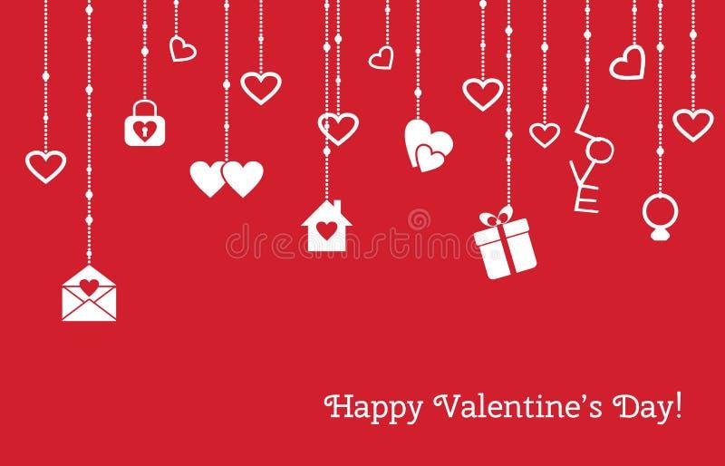 Κάρτα για την ημέρα βαλεντίνων με την ένωση των καρδιών, δώρα διανυσματική απεικόνιση