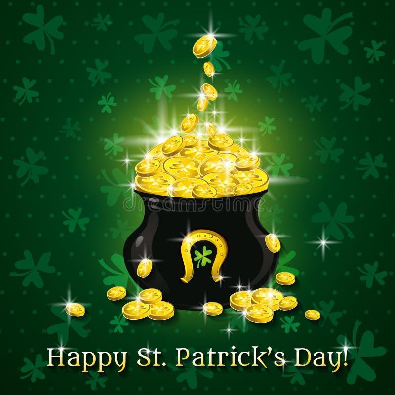 Κάρτα για την ημέρα του ST Patricks με το κείμενο και το δοχείο με το γ ελεύθερη απεικόνιση δικαιώματος