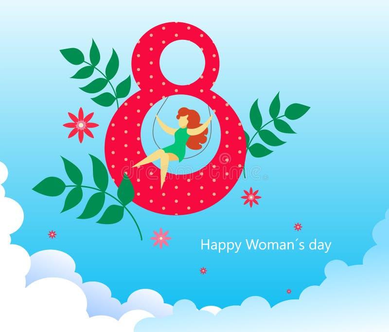 Κάρτα για την ημέρα των γυναικών την 8η Μαρτίου Γυναίκα σε μια ταλάντευση στον αριθμό οκτώ στα σύννεφα με τα λουλούδια και τα φύλ απεικόνιση αποθεμάτων