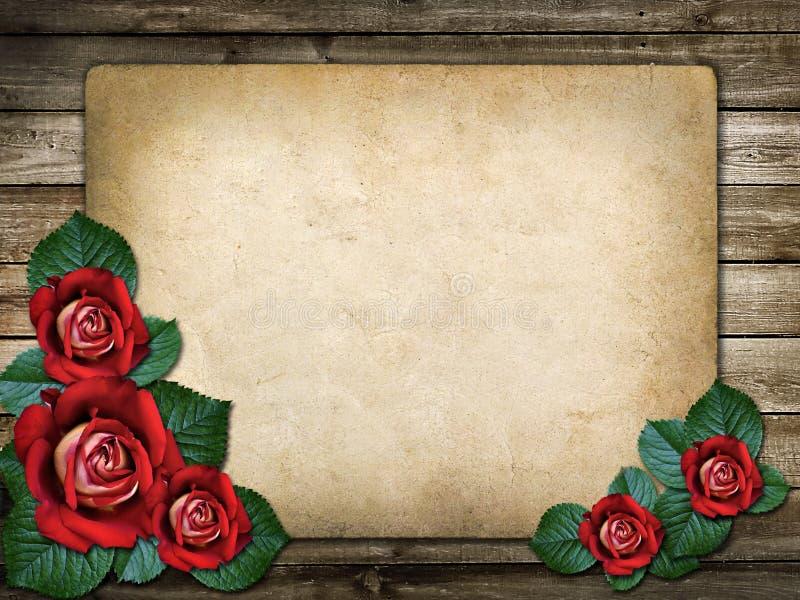 Κάρτα για την πρόσκληση ή τα συγχαρητήρια με τα κόκκινα τριαντάφυλλα στοκ φωτογραφία