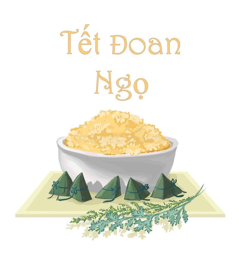 Κάρτα για Tet Doan Ngo - απομονωμένη διανυσματική εικόνα του κολλώδους ρ διανυσματική απεικόνιση