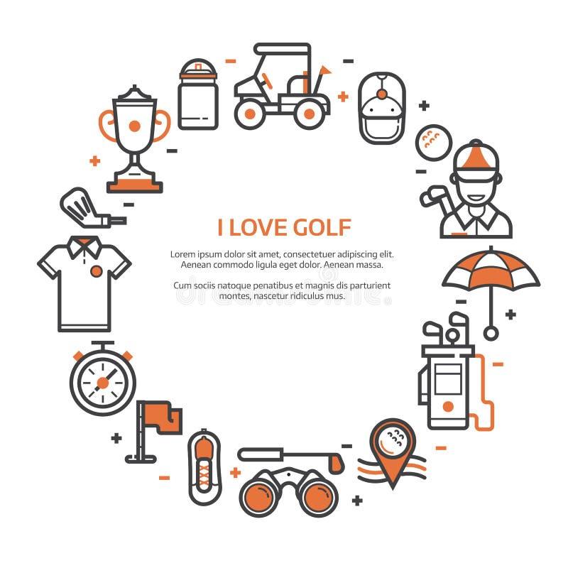 Κάρτα γκολφ κλαμπ ή πρότυπο πρόσκλησης διανυσματική απεικόνιση