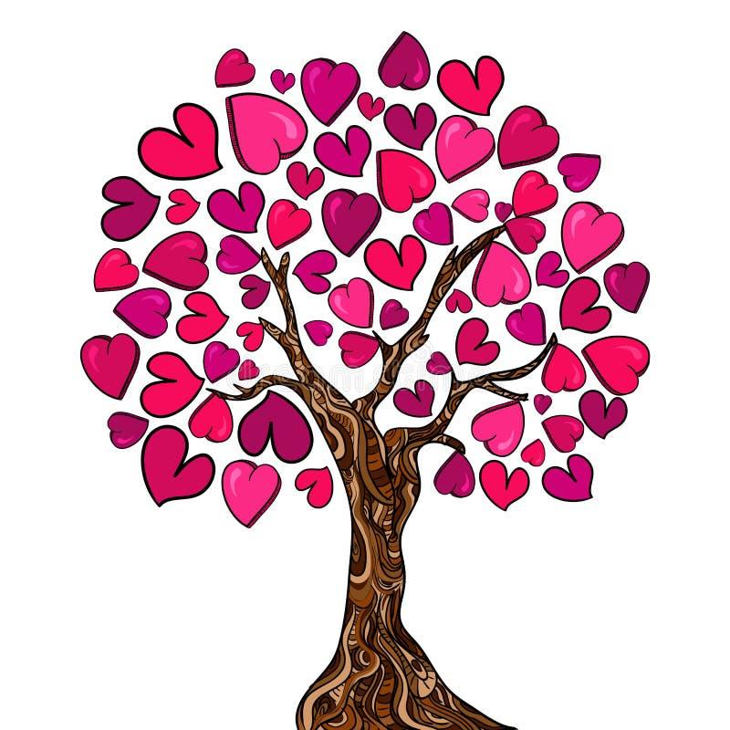 Κάρτα δέντρων έννοιας αγάπης διανυσματική απεικόνιση