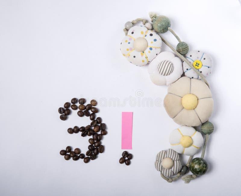 Κάρτα διακοπών - αριθμός 3 ψημένων φασολιών καφέ στοκ εικόνα