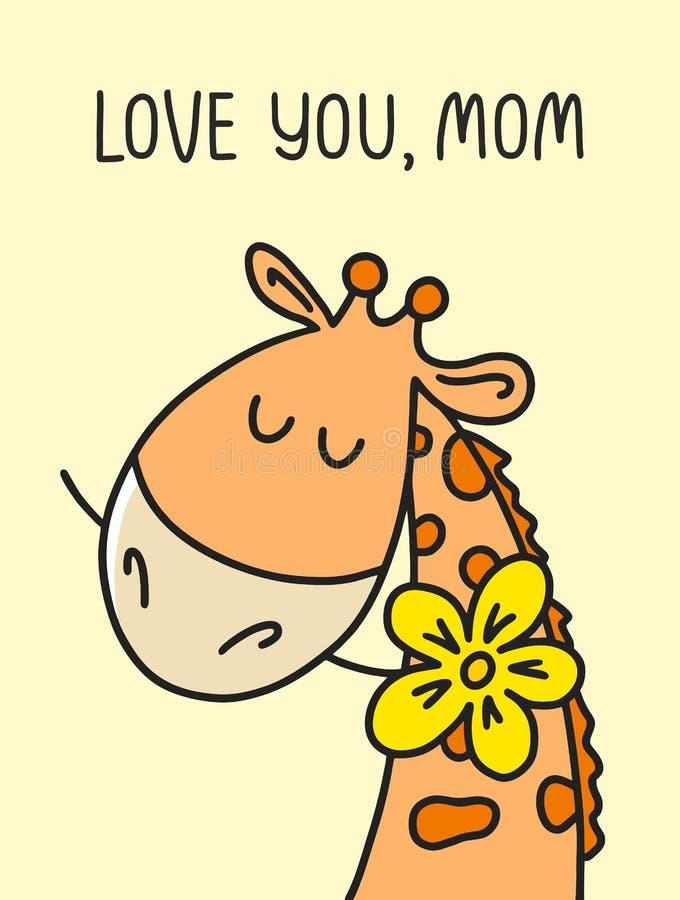 Κάρτα διακοπών ημέρας μητέρων με χαριτωμένο giraffe Διανυσματική επίπεδη απεικόνιση κινούμενων σχεδίων απεικόνιση αποθεμάτων