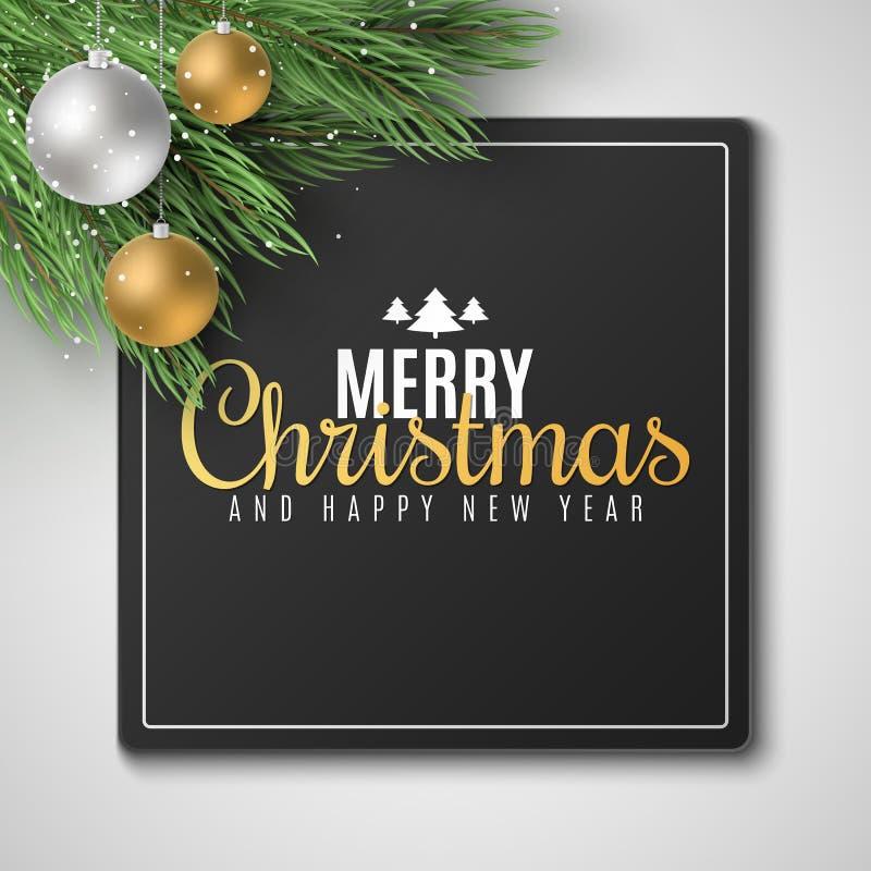 Κάρτα δώρων για τη Χαρούμενα Χριστούγεννα και καλή χρονιά 2020 Δέντρο του FIR με τις εορταστικές σφαίρες Μειωμένο χιόνι r απεικόνιση αποθεμάτων