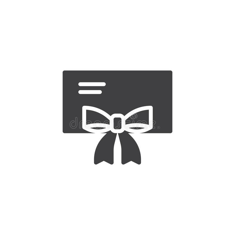 Κάρτα δώρων με το διανυσματικό εικονίδιο κορδελλών τόξων απεικόνιση αποθεμάτων