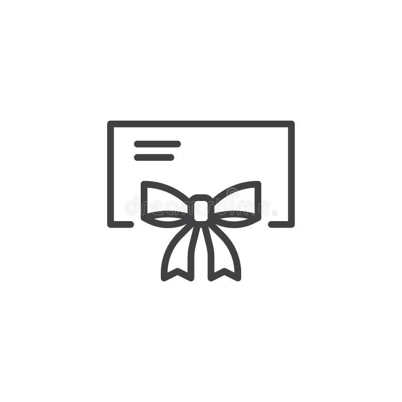Κάρτα δώρων με το εικονίδιο περιλήψεων κορδελλών τόξων απεικόνιση αποθεμάτων