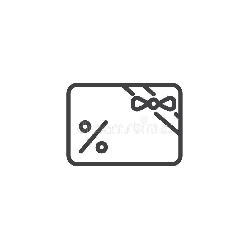 Κάρτα δώρων με το εικονίδιο περιλήψεων κορδελλών διανυσματική απεικόνιση