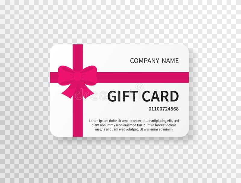 Κάρτα δώρων με το ρόδινο τόξο και κορδέλλα στο διαφανές υπόβαθρο Απόδειξη δώρων Πρότυπο σχεδίου πιστωτικών καρτών Αγορές απεικόνιση αποθεμάτων