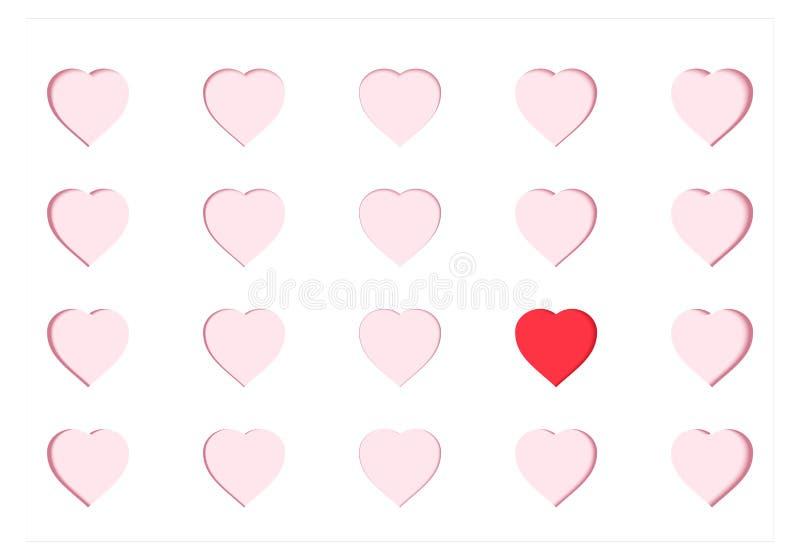Κάρτα εγγράφου Scrapbooking με τις χαρασμένες ρόδινες καρδιές και μια διαφορετική κόκκινη καρδιά Έννοια και βαλεντίνος ` s Origam ελεύθερη απεικόνιση δικαιώματος