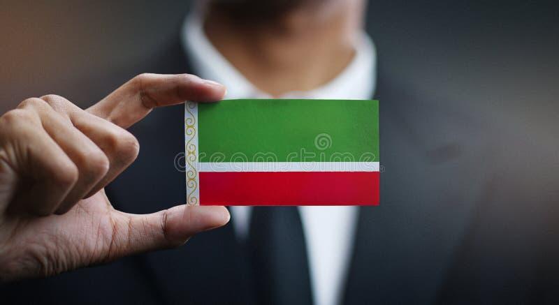 Κάρτα εκμετάλλευσης επιχειρηματιών της τσετσένιας σημαίας Δημοκρατίας στοκ εικόνα