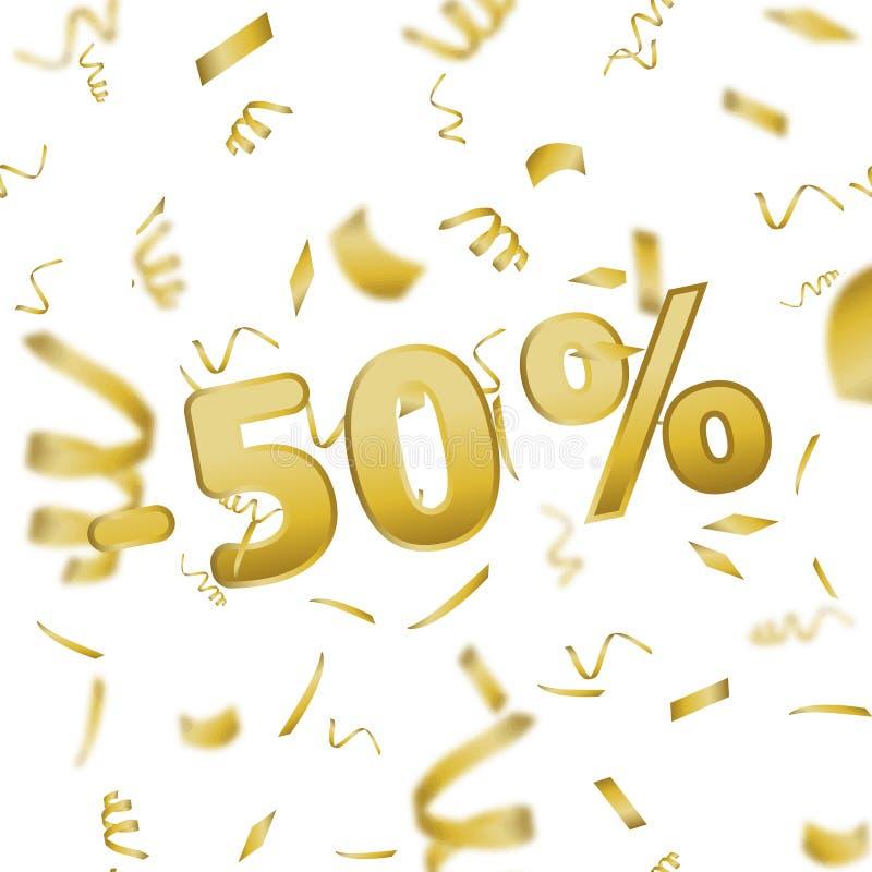 Κάρτα εμβλημάτων πώλησης με 50 τοις εκατό και το χρυσό κομφετί διάνυσμα ελεύθερη απεικόνιση δικαιώματος