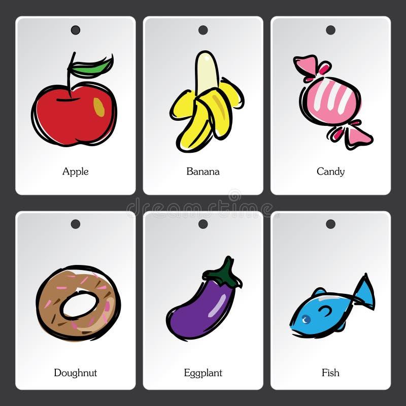 Κάρτα λεξιλογίου απεικόνισης τροφίμων διανυσματική απεικόνιση