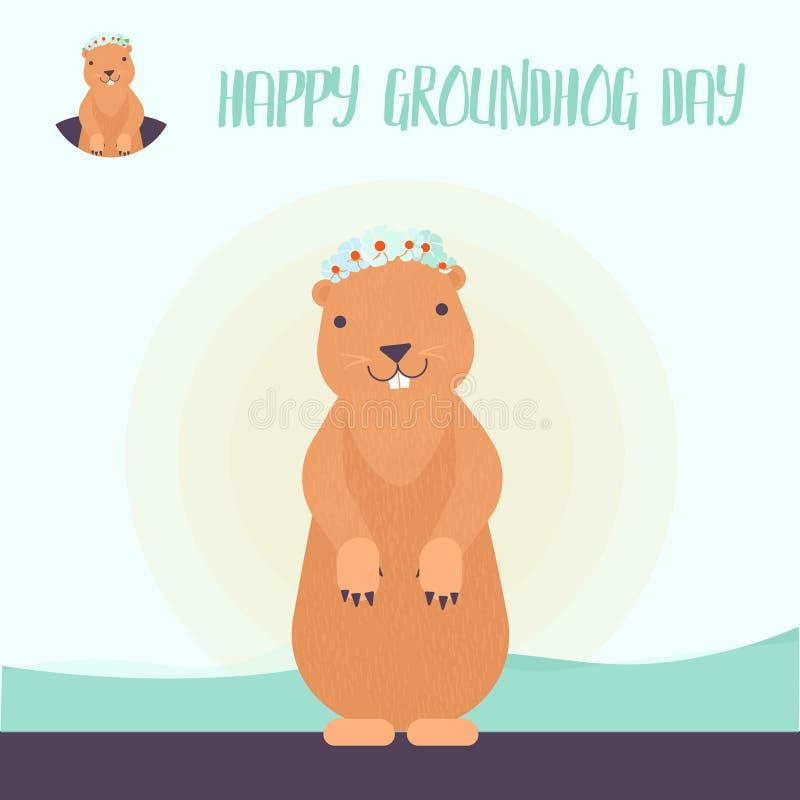 Κάρτα εορτασμού Γοπχερ ειδώλων ή λογότυπων Ευτυχές σχέδιο ημέρας Groundhog με το χαριτωμένο groundhog - διάνυσμα απεικόνιση αποθεμάτων