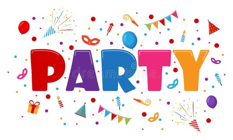 Κάρτα εορτασμού και πρόσκλησης κόμματος με τα εικονίδια ελεύθερη απεικόνιση δικαιώματος