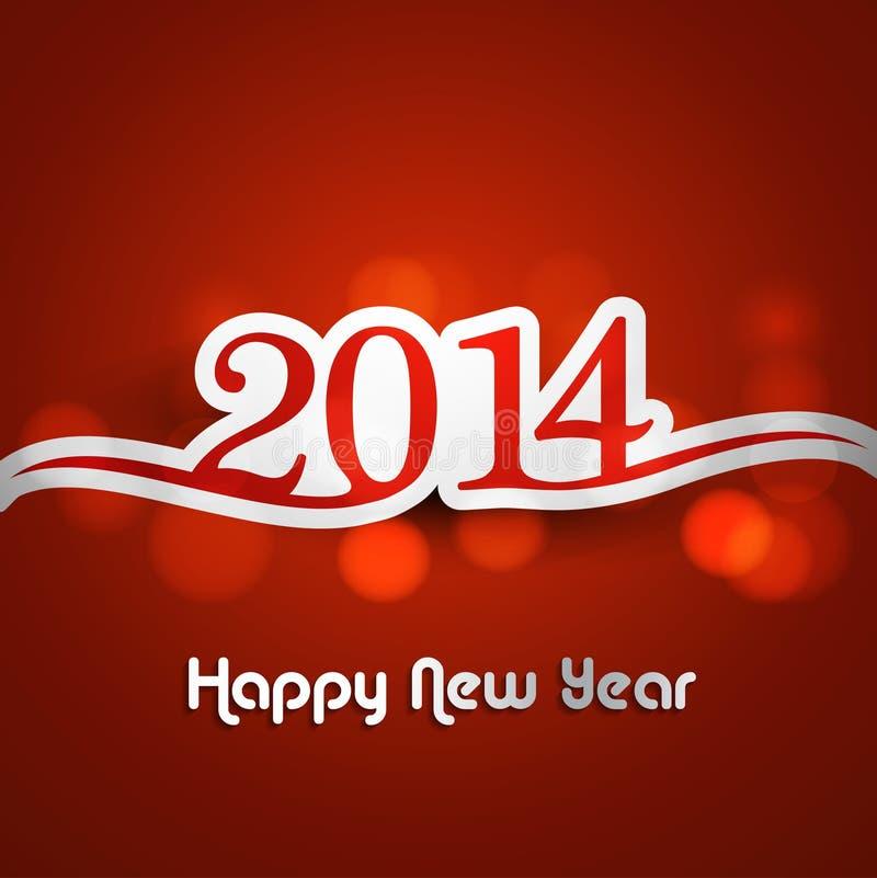 Κάρτα εορτασμού καλής χρονιάς 2014 ζωηρόχρωμη ελεύθερη απεικόνιση δικαιώματος