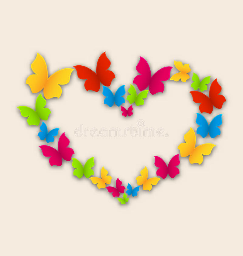 Κάρτα εορτασμού με την καρδιά που γίνεται στις ζωηρόχρωμες πεταλούδες για ελεύθερη απεικόνιση δικαιώματος