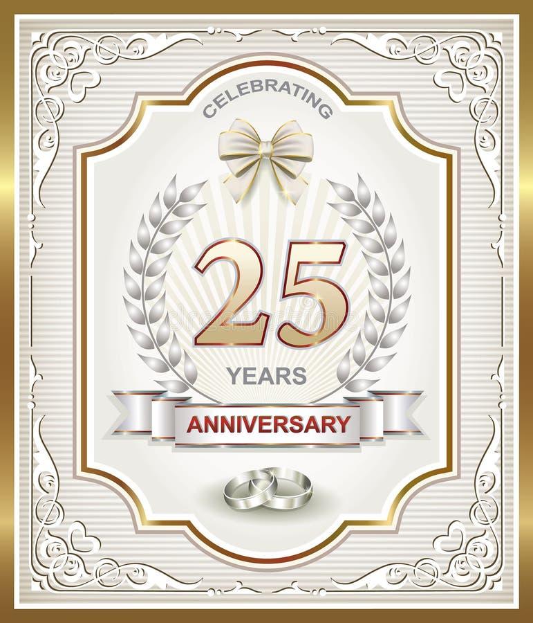 Κάρτα επετείου 25 έτη απεικόνιση αποθεμάτων