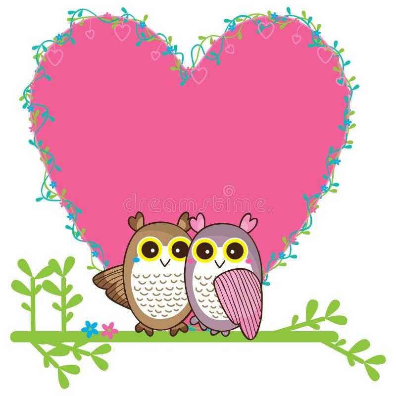 Κάρτα ζευγαριού αγάπης κουκουβαγιών ελεύθερη απεικόνιση δικαιώματος