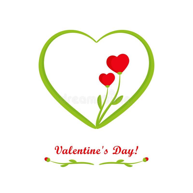Κάρτα ημέρας βαλεντίνων, λουλούδια με τις κόκκινες καρδιές διανυσματική απεικόνιση