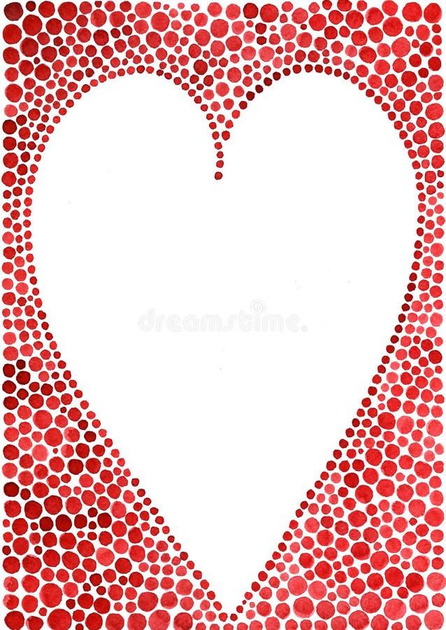 Κάρτα ημέρας βαλεντίνων καρδιών Watercolor διανυσματική απεικόνιση