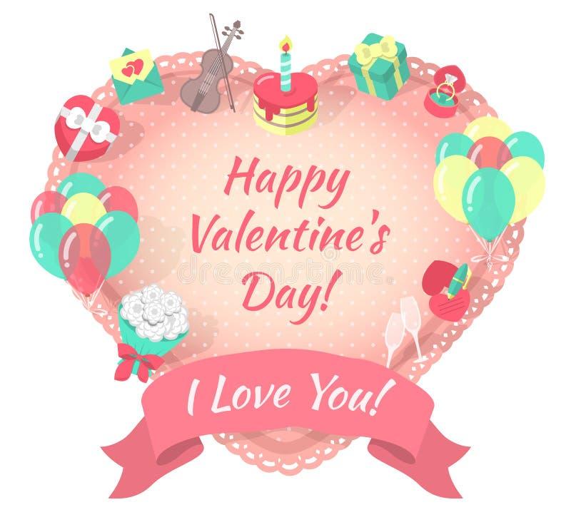 Κάρτα ημέρας βαλεντίνων με τα σύμβολα αγάπης διανυσματική απεικόνιση