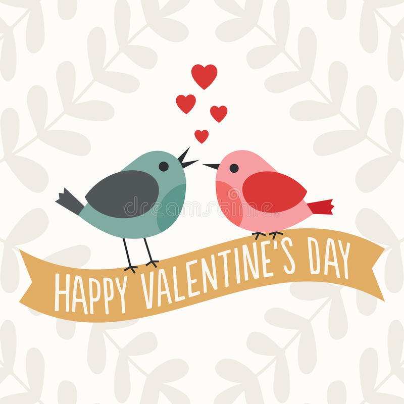 Κάρτα ημέρας βαλεντίνων με τα χαριτωμένα πουλιά αγάπης