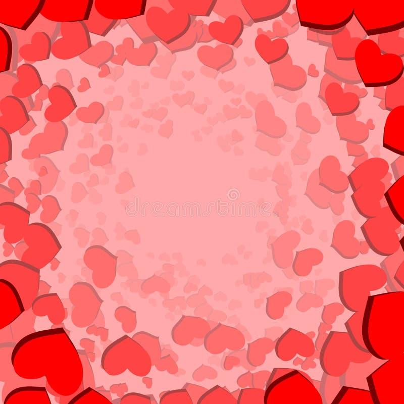 Κάρτα ημέρας βαλεντίνων με τις διεσπαρμένες καρδιές απεικόνιση αποθεμάτων