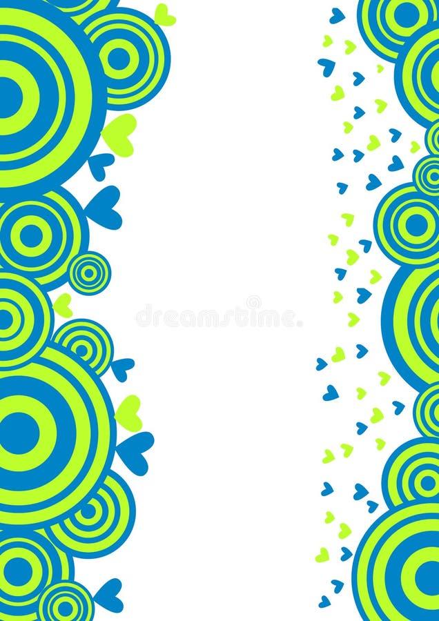 Υπόβαθρο καρτών ημέρας βαλεντίνων κύκλων και καρδιών διανυσματική απεικόνιση