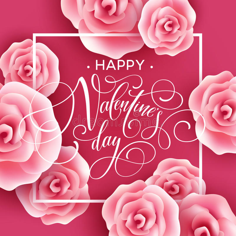 Κάρτα ημέρας βαλεντίνων με το υπόβαθρο τριαντάφυλλων επίσης corel σύρετε το διάνυσμα απεικόνισης ελεύθερη απεικόνιση δικαιώματος